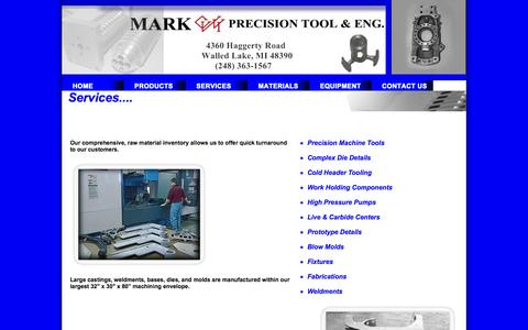 Screenshot of Services Page markprecisiontool.com - Our Services - captured Oct. 1, 2014