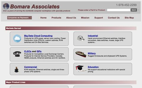 Screenshot of Home Page bomara.com - Bomara Associates: UPS Power & Networking Products - Worldwide Sales - captured Oct. 5, 2014