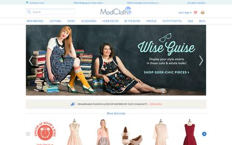 Screenshot of Home Page modcloth.com - Unique & Cute Clothes, Accessories & Decor | ModCloth - captured July 11, 2014