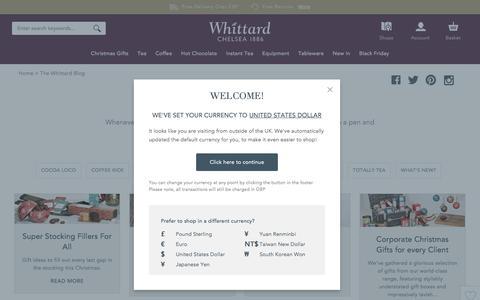 Screenshot of Blog whittard.co.uk - Tea, Coffee, Hot Chocolate & Tableware  | Whittard of Chelsea - captured Nov. 28, 2016