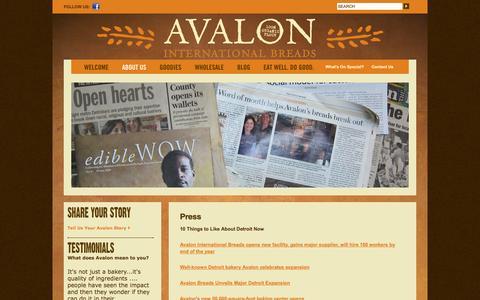 Screenshot of Press Page avalonbreads.net - Press - Avalon International BreadsAvalon International Breads - captured Oct. 4, 2014