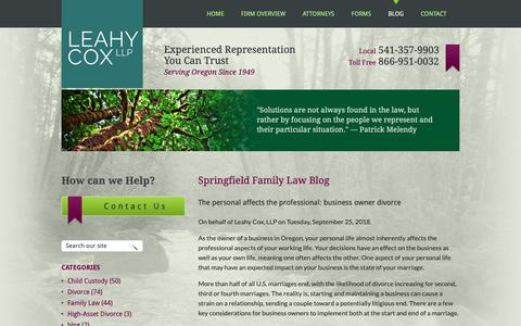 Screenshot of Blog emeraldlaw.com - Springfield Family Law Blog | Leahy Cox, LLP - captured Oct. 21, 2018