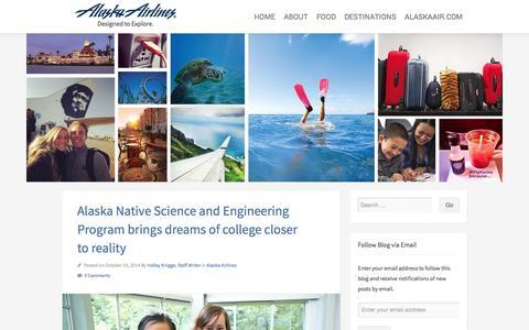 Screenshot of Blog alaskaair.com - Alaska Airlines Blog | Designed to Explore. - captured Oct. 29, 2014