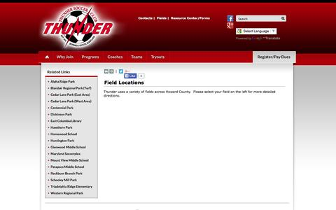 Screenshot of Maps & Directions Page thundersoccerclub.org - Field Locations - Thunder Soccer Club - captured Oct. 7, 2014