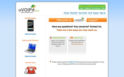 Screenshot of Support Page uvoipit.com - Support - uVOIPit - captured Sept. 30, 2014