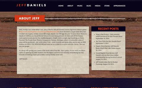 Screenshot of About Page jeffdaniels.com - About Jeff | Jeff Daniels - captured Oct. 5, 2014