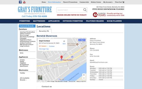Screenshot of Contact Page Locations Page grayfurniture.com - Contact Gray's Furniture in Pennsylvania - captured Sept. 5, 2017