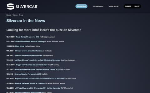 Screenshot of Press Page silvercar.com - Car Rental in Austin, Dallas/Ft. Worth, Denver, Los Angeles, Miami, Phoenix, and San Francisco - Rent an Audi A4 at AUS, DAL, DEN, DFW, LAX, MIA, PHX, or SFO - captured Sept. 17, 2014