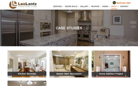 Screenshot of Case Studies Page leolantz.com - Case Studies | Leo Lantz | Windows, Bathroom & Kitchen Remodeling - captured July 31, 2017