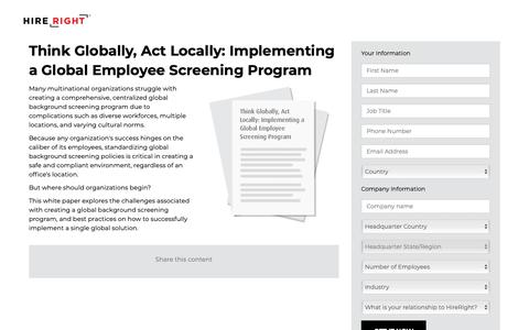 Screenshot of Landing Page hireright.com - Think Globally, Act Locally: Implementing a Global Employee Screening Program | HireRight - captured Feb. 7, 2019