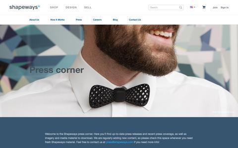Screenshot of Press Page shapeways.com - Press Corner - Shapeways 3D Printing - Shapeways - captured Sept. 17, 2014