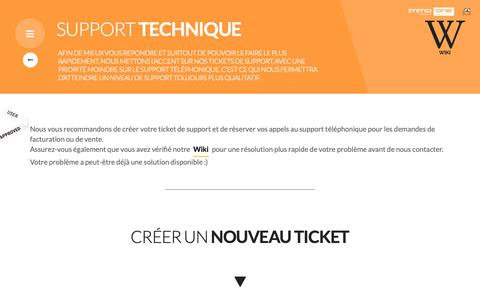 Screenshot of Support Page immo-one.fr - CRM Immobilier responsive : Immo-One by Alveen, logiciel et agence de communication immobilière - captured Nov. 6, 2018