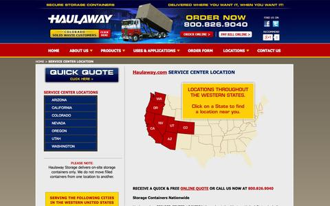 Screenshot of Locations Page haulaway.com - Haulaway.com Storage Containers, Inc. Nationwide Locations - captured Oct. 2, 2014