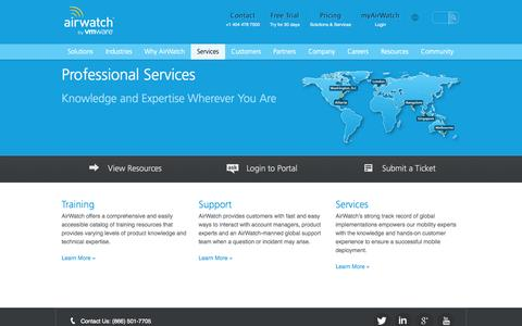 Screenshot of Services Page air-watch.com - Professional Services | AirWatch - captured Sept. 19, 2014
