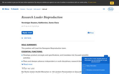 Screenshot of Jobs Page roche.com - Roche - Research Leader Bioproduction - captured July 16, 2019
