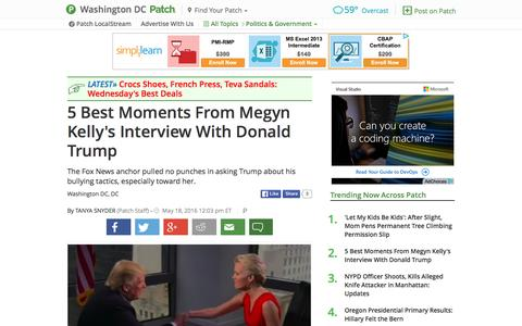 Screenshot of patch.com - 5 Best Moments From Megyn Kelly's Interview With Donald... - captured May 18, 2016