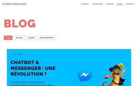 Screenshot of Blog pamplemousse.com - Agence Pamplemousse - Le blog des professionnels du branding et digital - captured Sept. 26, 2018