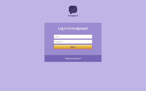 Screenshot of Login Page nudgespot.com - Nudgespot - captured Jan. 12, 2016
