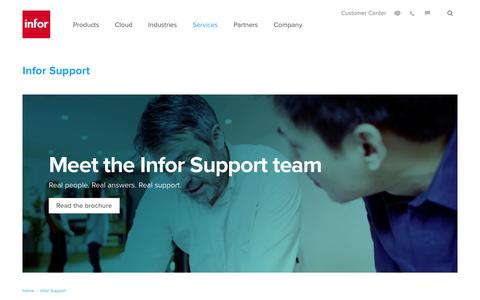 Screenshot of Support Page infor.com - Infor Support - captured June 29, 2016
