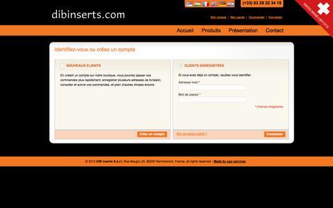 Screenshot of Login Page dibinserts.com - Identifiant client - captured Oct. 23, 2014