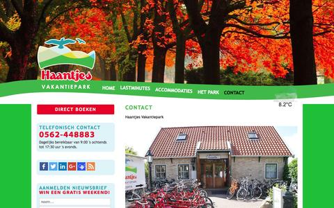 Screenshot of Contact Page haantjes.nl - Contact | Haantjes Vakantiepark Terschelling - captured Jan. 24, 2016