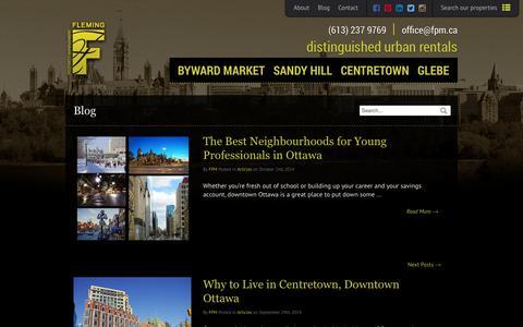 Screenshot of Blog fpm.ca - Downtown Ottawa - Blog - Fleming Property Management - captured Oct. 6, 2014
