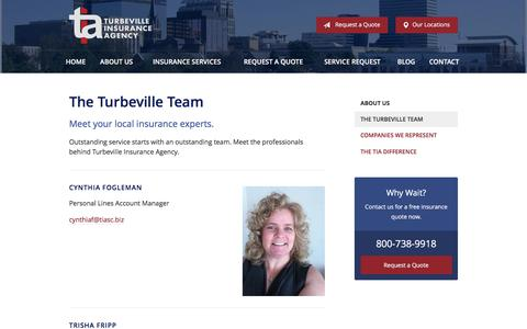 Screenshot of Team Page tiasc.biz - Our Team - Columbia, SC | Turbeville Insurance Agency - captured Dec. 26, 2016