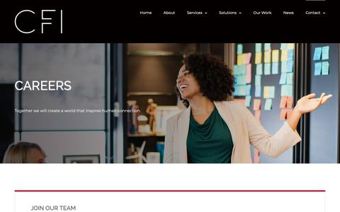 Screenshot of Jobs Page cfioffice.com - Careers - Commercial Furniture Interiors - captured Sept. 29, 2018