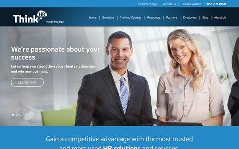 Screenshot of Home Page thinkhr.com - HR Consultants | Human Resources Advisor & Answers - ThinkHR - captured Sept. 18, 2015