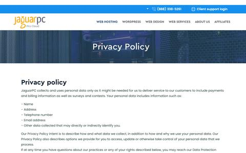 Screenshot of Privacy Page jaguarpc.com - Privacy Policy for Jaguar Pro Cloud - Cloud Hosting Privacy - Jaguarpc - captured Oct. 27, 2018
