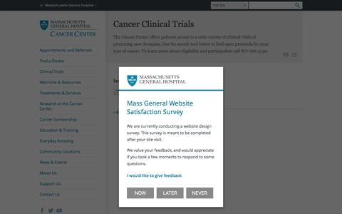 Cancer Clinical Trials - Massachusetts General Hospital, Boston, MA