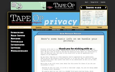 Screenshot of Privacy Page tapeop.com - Our Privacy Policy | Tape Op - the Creative Music Recording Magazine - captured Oct. 27, 2014