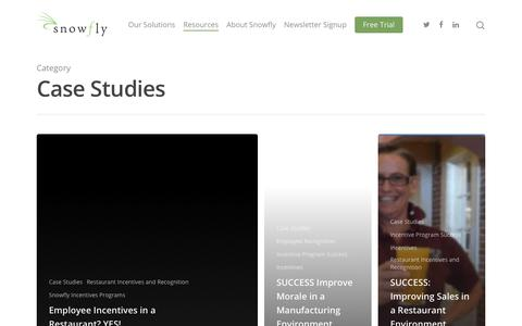 Screenshot of Case Studies Page snowfly.com - Case Studies – Employee Engagement and Employee Incentives - captured Jan. 20, 2020