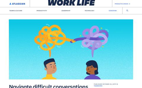 Screenshot of Blog atlassian.com - Navigate difficult conversations at work with this 7-step process - Work Life by Atlassian - captured Feb. 8, 2020
