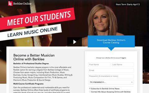 Screenshot of Landing Page berklee.edu - Learn Music Online with Berklee - captured Feb. 23, 2017
