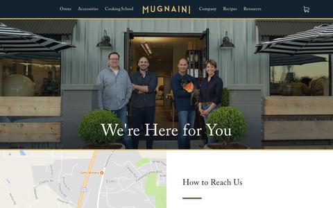 Screenshot of Contact Page mugnaini.com - Contact — Mugnaini Wood and Gas Fired Pizza Ovens - captured June 23, 2017