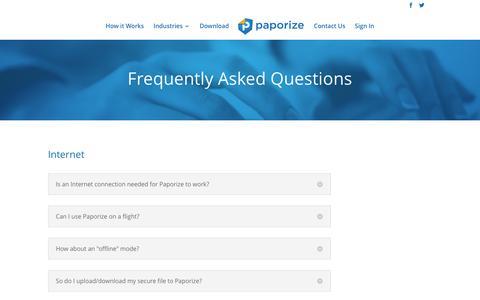 Screenshot of FAQ Page paporize.com - FAQ - captured Dec. 7, 2015