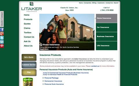 Screenshot of Products Page litakerinsurance.com - Insurance Products - Litaker Insurance - Charlotte, North Carolina 28207 - captured Sept. 30, 2014