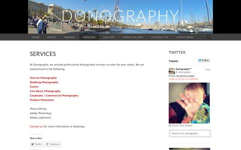 Screenshot of Services Page wordpress.com - Services | Donography - captured Sept. 12, 2014