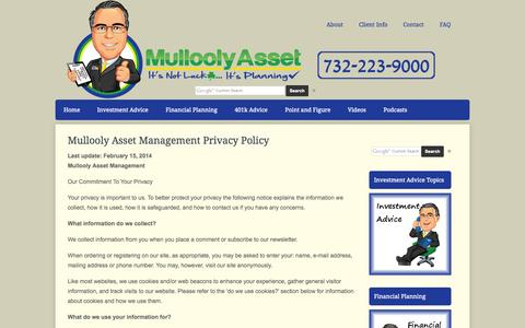 Screenshot of Privacy Page mullooly.net - Mullooly Asset Management Privacy Policy | Mullooly Asset Management - captured Oct. 1, 2014
