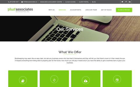 Screenshot of Services Page plusassociates.ca - Services | Plus Associates Bookkeeping - captured Jan. 29, 2016