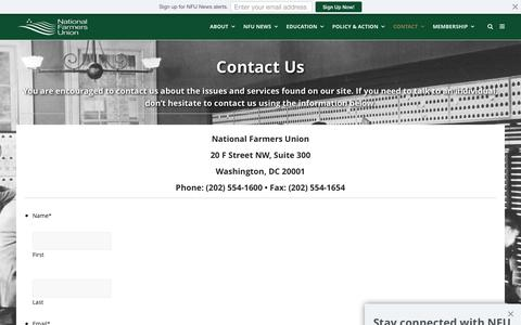 Screenshot of Contact Page nfu.org - Contact Us | National Farmers Union - captured Nov. 28, 2016
