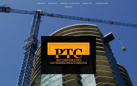 Screenshot of Home Page ptcables.com - PTC, inc - captured Jan. 24, 2016