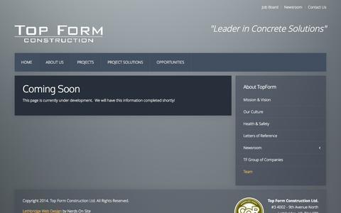 Screenshot of Team Page topform.ca - Top Form Construction - Concrete - Pre Cast - Team - captured Nov. 5, 2014