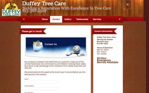 Screenshot of Contact Page duffeytreecare.com - Duffey Tree Care Corp. - Contact - captured Oct. 1, 2014