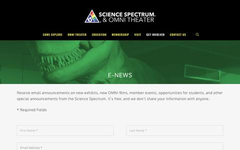 Screenshot of Signup Page sciencespectrum.org - E-News – SCIENCE SPECTRUM & OMNI THEATER - captured May 28, 2017