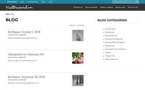 Screenshot of Blog visitbrainerd.com - Visit Brainerd Blog - Minnesota Vacation & Travel Blog - captured Nov. 17, 2018