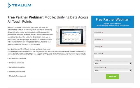 Screenshot of Landing Page tealium.com - Mobile: Unifying Data Across All Touch Points | Tealium - captured Oct. 20, 2016