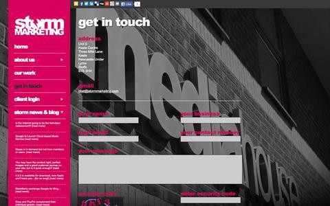 Screenshot of Contact Page stormmarketing.com - Contact Us | Storm Marketing - captured Oct. 7, 2014
