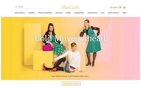 Screenshot of Home Page modcloth.com - Unique & Cute Clothes, Accessories & Decor | ModCloth - captured Jan. 2, 2016
